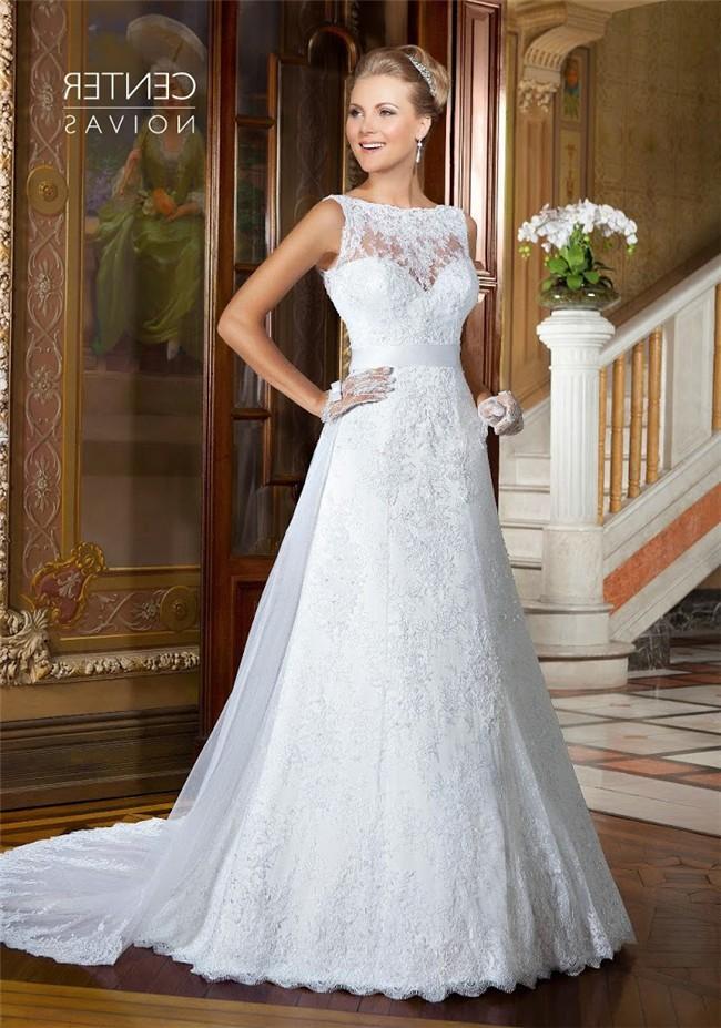 A Line Boat Neck V Back Sleeveless Lace Wedding Dress With Sash
