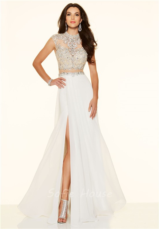 A Line Cap Sleeve High Slit Long Blue Chiffon Beaded Two Piece Prom