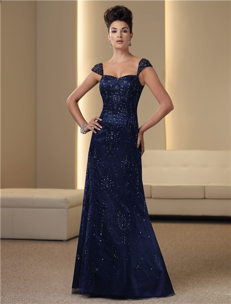 Line Cap Sleeve Navy Blue Satin Chiffon Beaded Mother Of The Bride ...