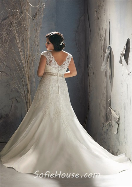 63fa5cfd707 A Line Cap Sleeve V Neck Organza Lace Beaded Plus Size Wedding Dress With  Buttons