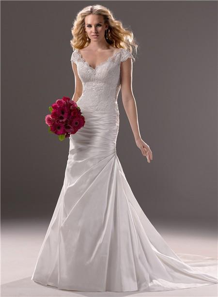 A Line Cap Sleeve V Neck Taffeta Lace Wedding Dress With