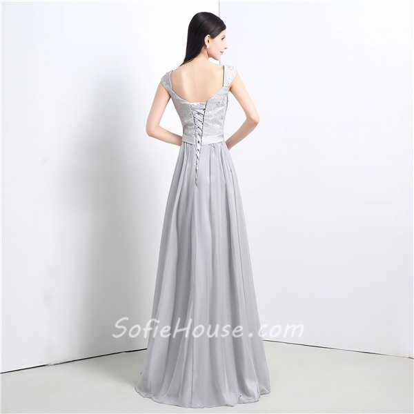 A Line Corset Back Long Silver Lace Chiffon Evening Prom