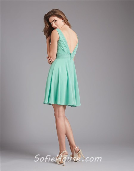 A Line Cowl Neck V Back Short Mint Green Chiffon Wedding Guest ...