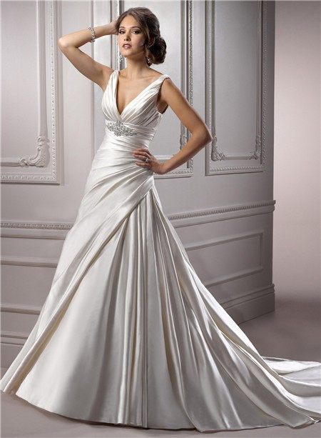 A Line Deep V Neck Corset Back Ivory Satin Ruched Wedding Dress With