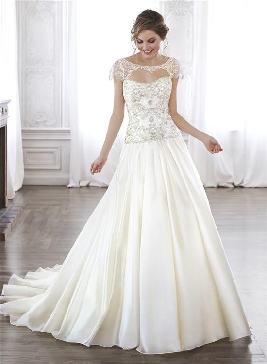 A Line Dropped Waist Taffeta Beaded Corset Wedding Dress ...