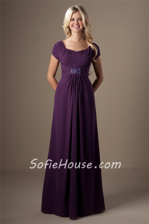 a line grape purple chiffon beaded long modest bridesmaid