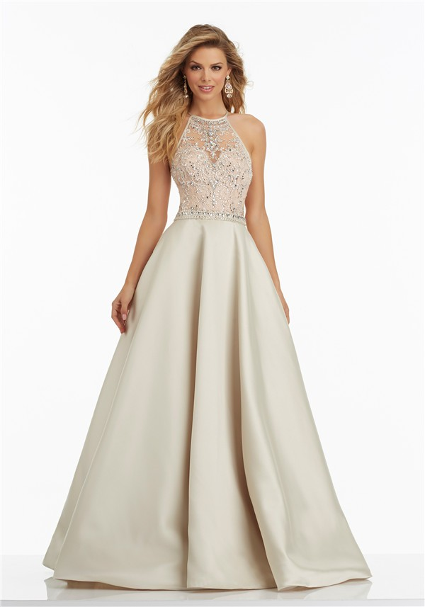 a line halter long champagne satin beaded prom dress criss