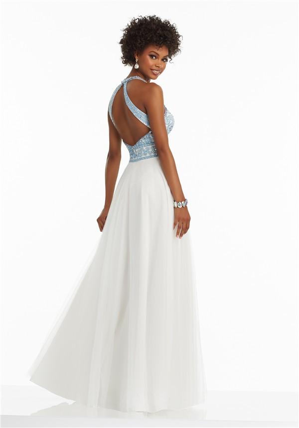 66e006c5e1 A Line Halter Side Slit White Tulle Light Blue Embroidery Prom Dress