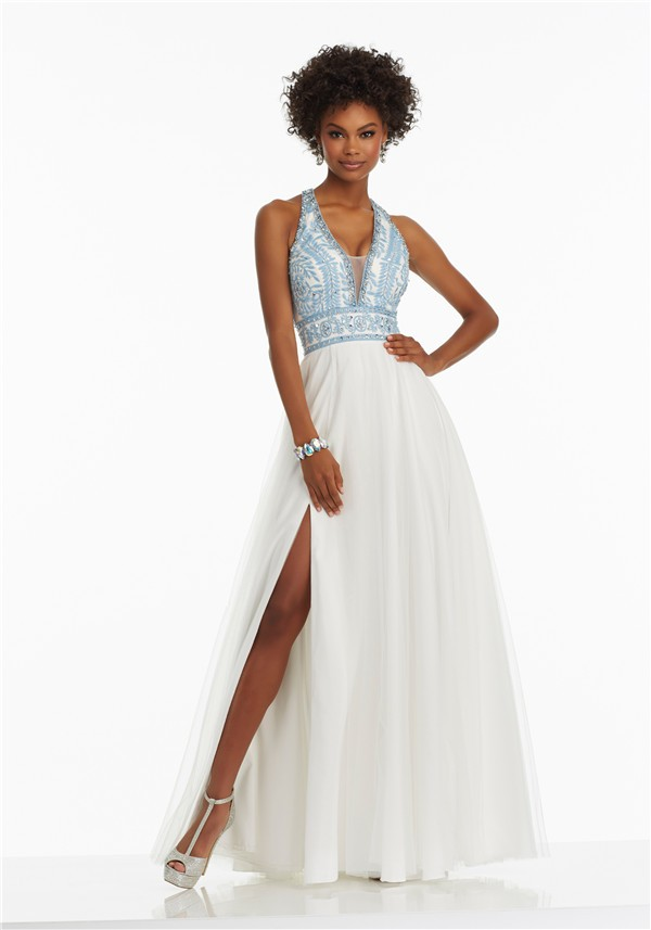 Line Halter Side Slit White Tulle Light Blue Embroidery Prom Dress