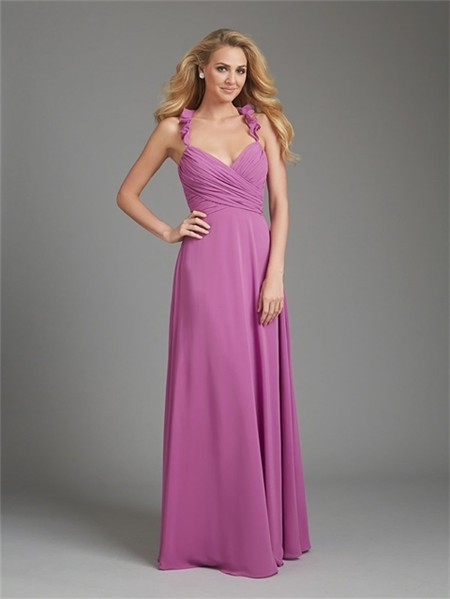 A line halter v neck long purple chiffon wedding guest for Halter dresses for wedding guests