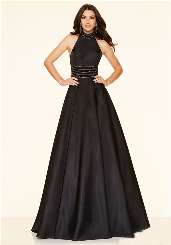 Line High Neck Backless Long Black Taffeta Beaded Prom Dress