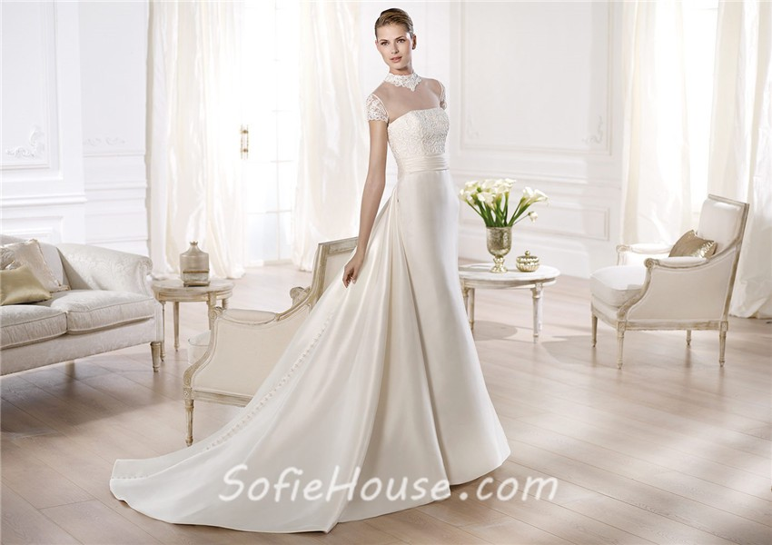 A Line Wedding Dress: A Line High Neck Cap Sleeve Sheer Tulle Satin Wedding