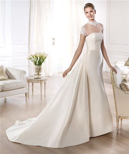 Simple Long A Line Cap Sleeve Train Lace Wedding Dresses: A Line High Neck Cap Sleeve Sheer Tulle Satin Wedding