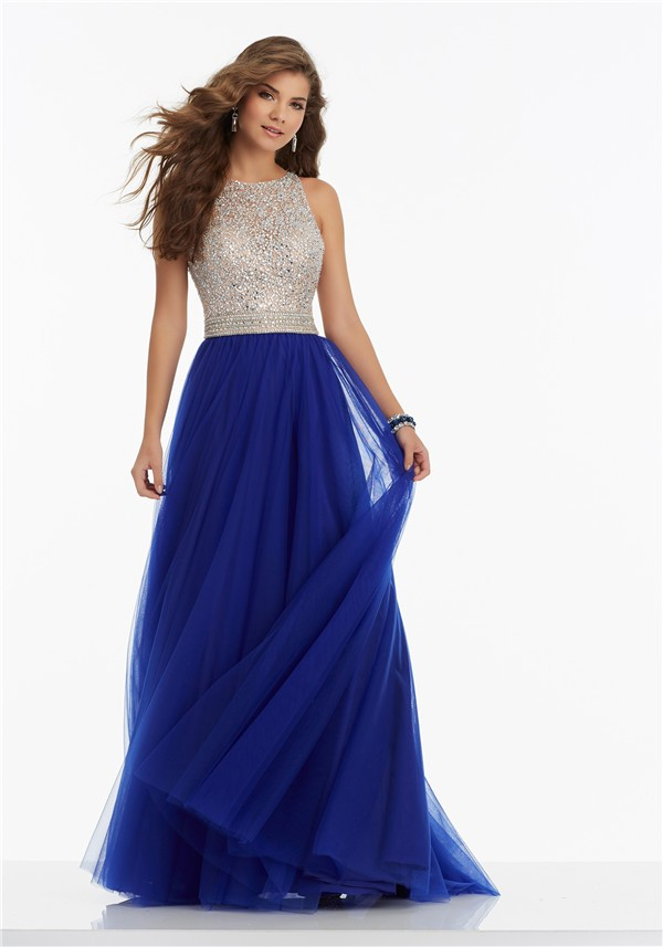 A Line High Neck Keyhole Open Back Long Royal Blue Tulle