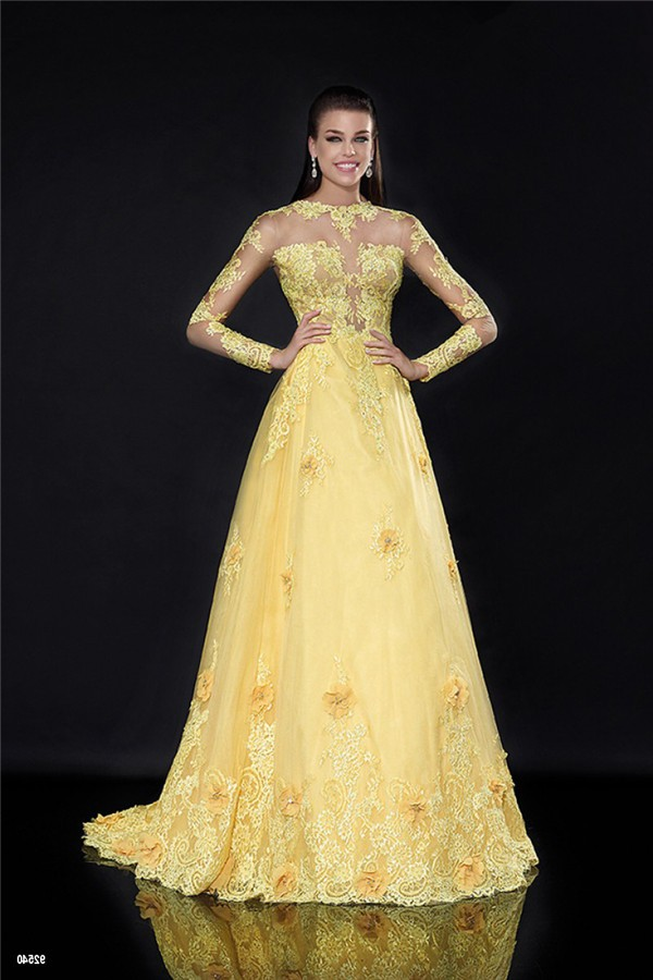 A Line High Neck Long Sleeve Yellow Tulle Lace See Through