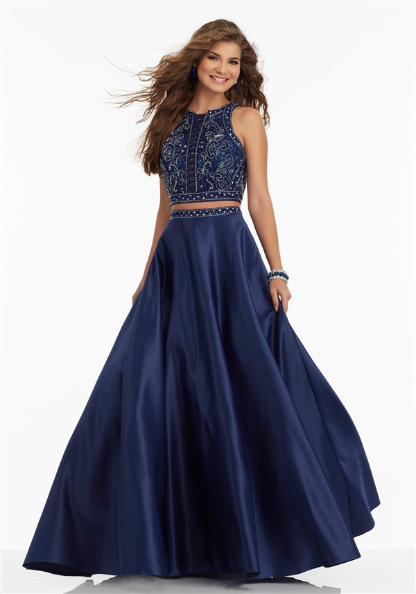 4cc86c244cf A Line High Neck Sleeveless Two Piece Navy Satin Beaded Prom Dress