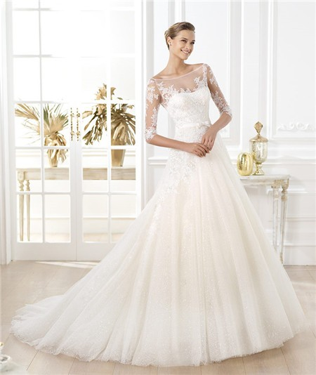 A Line Illusion Bateau Neckline Short Sleeve Glitter Tulle Lace Wedding Dress