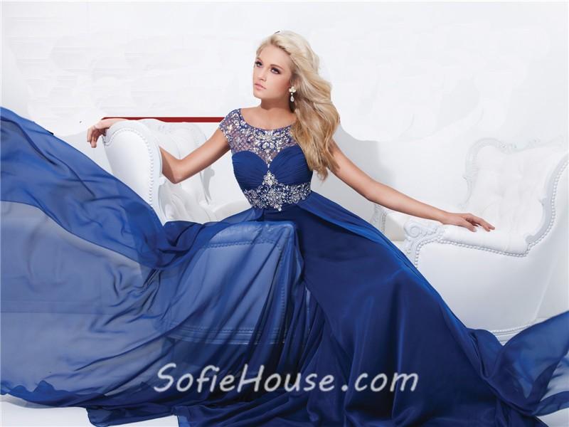 d1e8b5c4da0 A Line Illusion Neckline Cap Sleeve Long Royal Blue Chiffon Beaded Prom  Dress Open Back