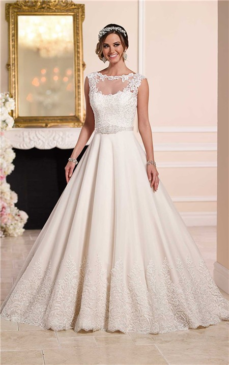 A line illusion neckline keyhole back tulle lace wedding for A line illusion neckline wedding dress