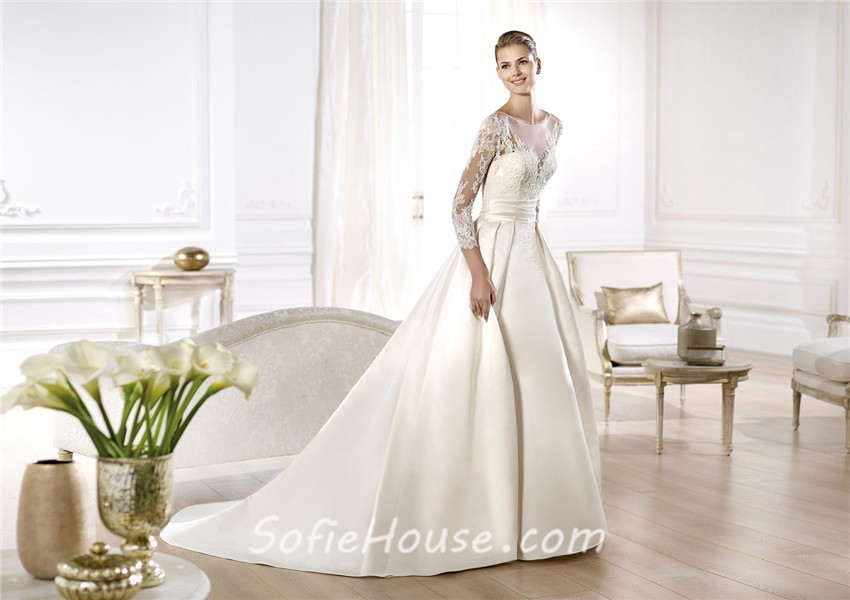 A Line Wedding Dress: A Line Illusion Neckline Long Lace Sleeve Satin Wedding