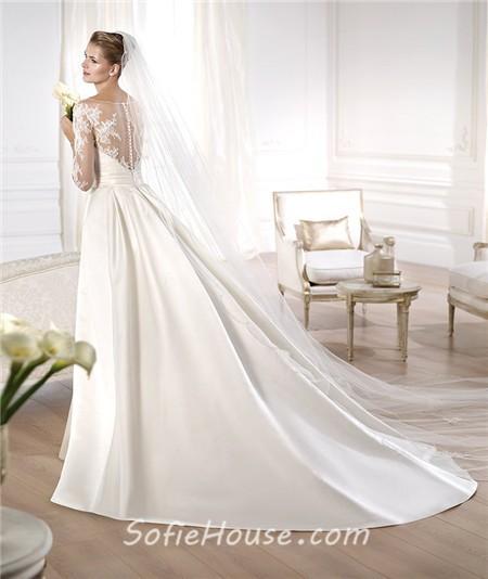 A line illusion neckline long lace sleeve satin wedding A line wedding dress with detachable train
