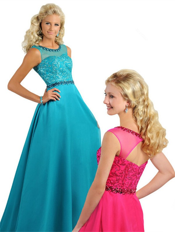 A Line Illusion Neckline Open Back Long Jade Chiffon Beaded Teen ...
