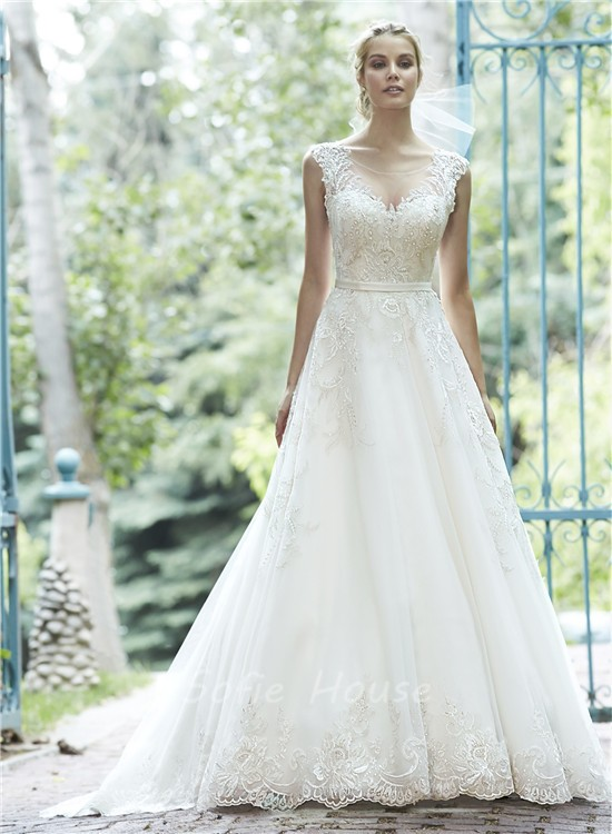 A Line Illusion Neckline See Through Back Lace Sparkly Wedding Dress