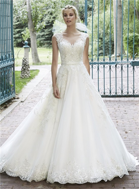 A Line Illusion Neckline See Through Back Lace Sparkly Wedding Dress ...