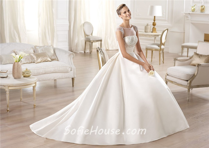 A Line Wedding Dress: A Line Illusion Neckline Sheer Back Cap Sleeve Tulle Satin