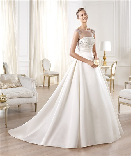 Adding Cap Sleeves Wedding Dress To: A Line Illusion Neckline Sheer Back Cap Sleeve Tulle Satin