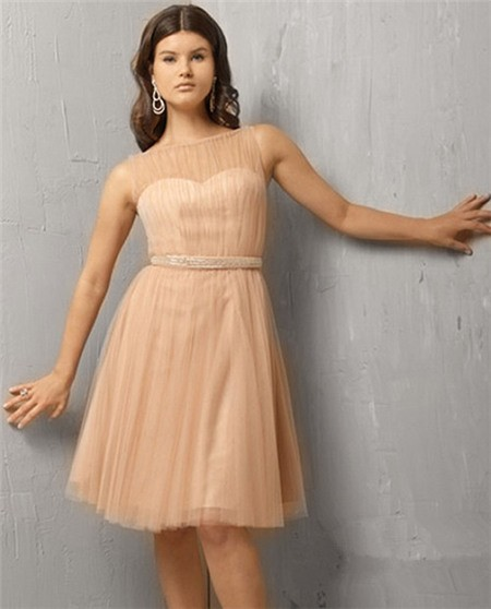 A Line Illusion Neckline Short Tulle Tail Party Evening Dress Beaded Belt