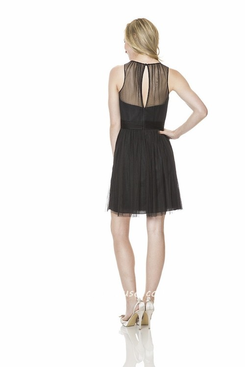 A line illusion scoop neckline short little black tulle for Little black wedding dress