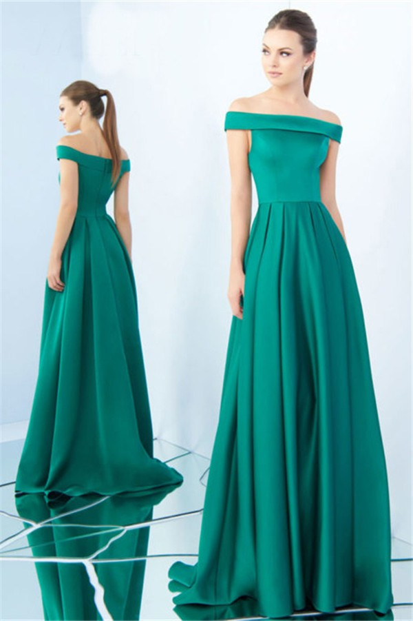 A Line Off The Shoulder Jade Green Satin Pleated Evening