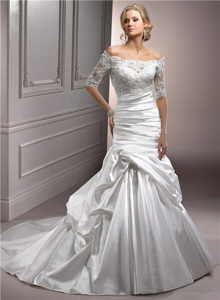 the shoulder satin ruched wedding dress with short sleeve lace jacket