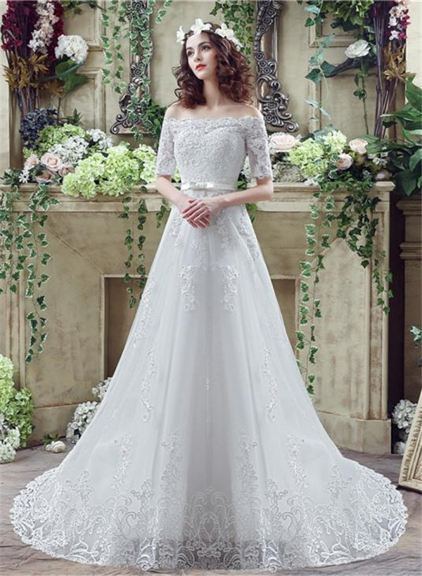 Line Off The Shoulder Short Sleeve Lace Wedding Dress With Bow Belt