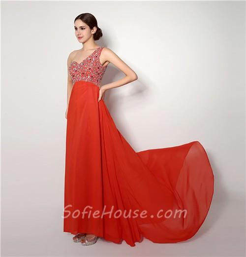 d6772faabc A Line One Shoulder Empire Waist Open Back Long Coral Chiffon Prom Dress