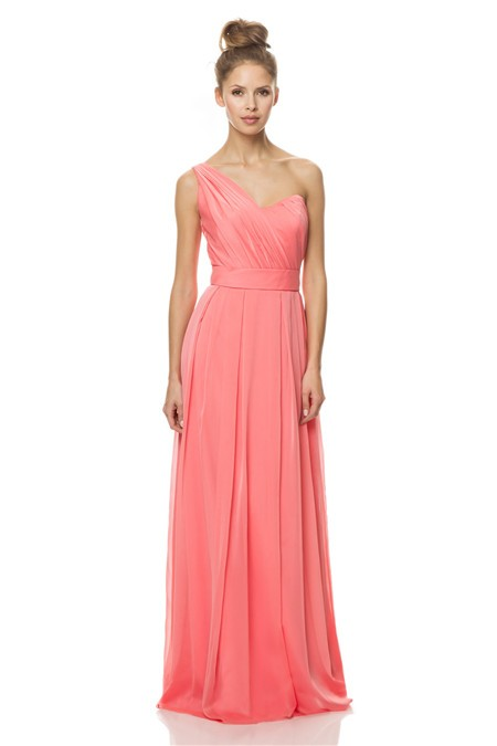 a line one shoulder long coral chiffon draped wedding guest bridesmaid dress with sash