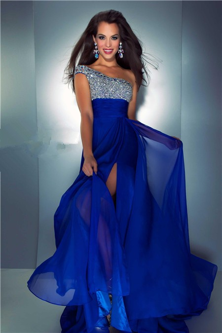A Line One Shoulder Long Royal Blue Chiffon Beaded Prom Dress With Slit