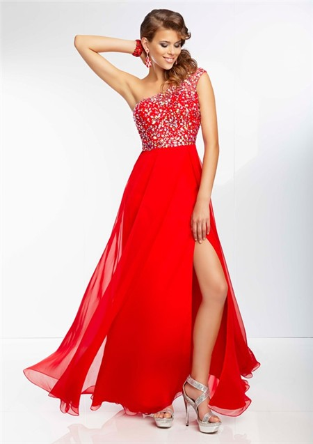 A Line One Shoulder Sheer Back Flowing Long Red Chiffon Beaded Prom ...