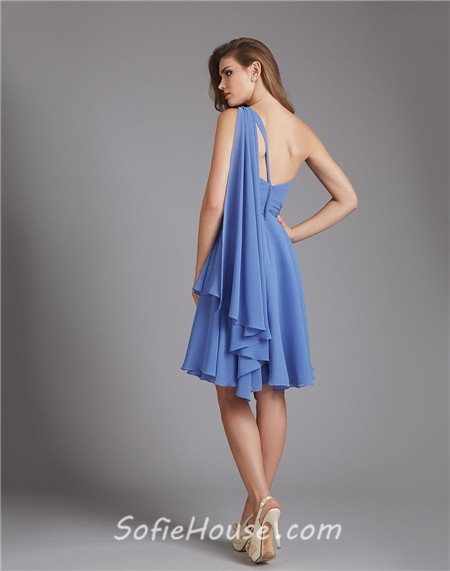 A Line One Shoulder Short Blue Chiffon Ruched Wedding Guest Bridesmaid Dress