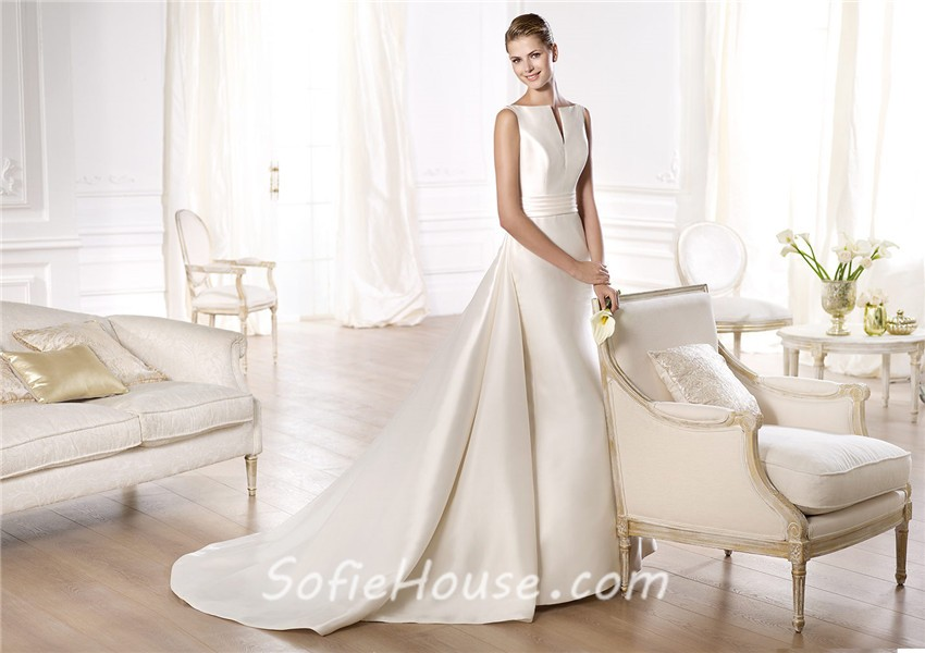 A Line Open Neckline V Back Satin Wedding Dress With Belt