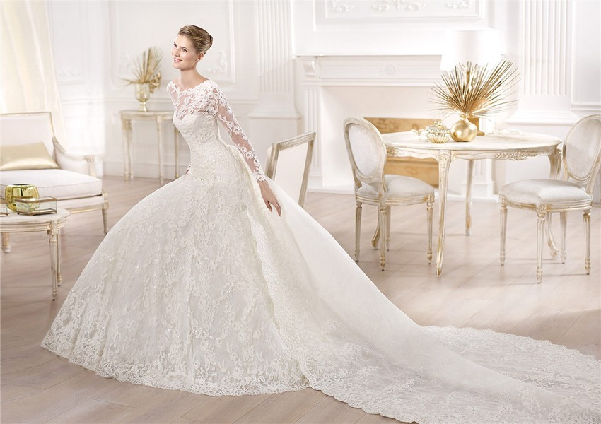 A Line Wedding Dress: A Line Princess Bateau Neckline Long Sleeve Lace Wedding