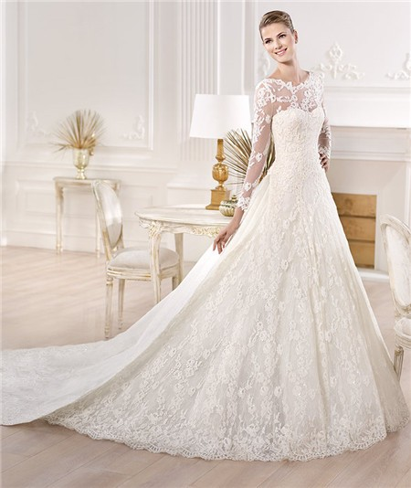 A Line Princess Bateau Neckline Long Sleeve Lace Wedding Dress With Detachable Train