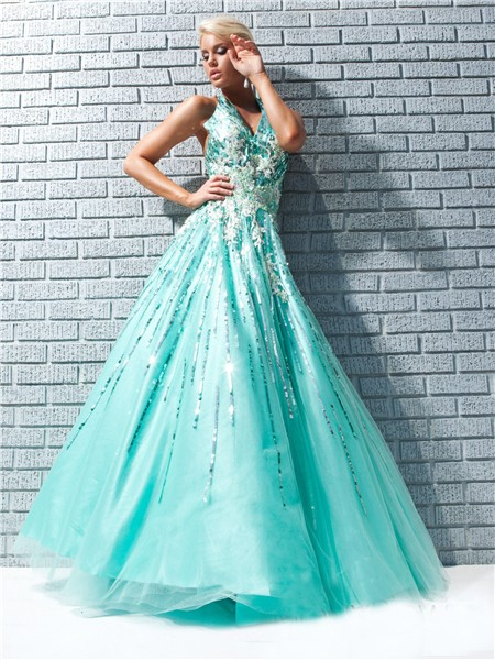 Line Princess Halter Backless Long Aqua Taffeta Prom Dress With ...
