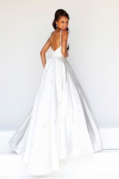 A Line Princess Illusion Neckline Low Back Long White ...