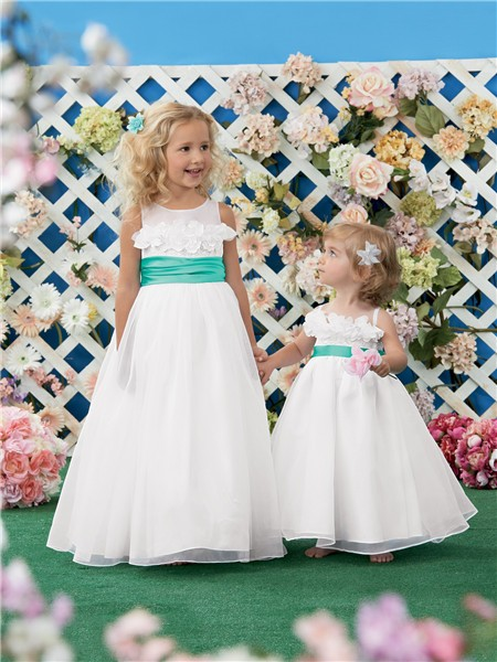 A Line Princess Scoop White Organza Green Sash Wedding Flower Girl Dress With Flowers