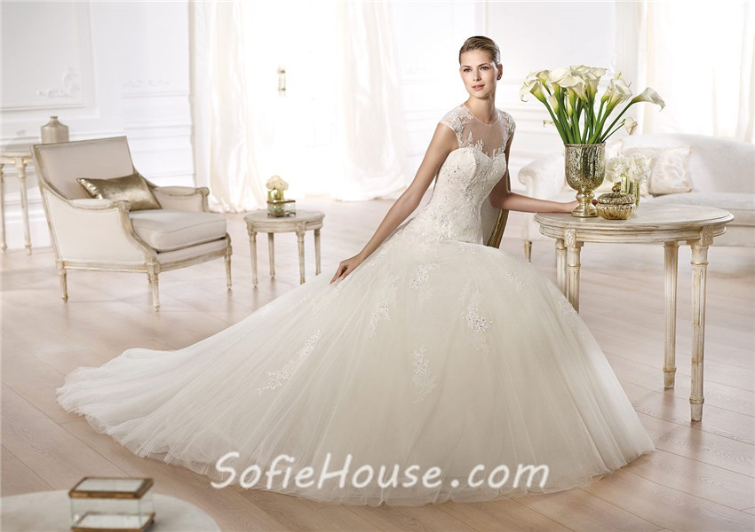 A Line Wedding Dress: A Line Princess Sheer Illusion Neckline Cap Sleeve Beaded