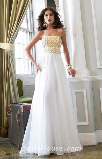A Line Princess Strapless Long White Chiffon Gold Beaded Evening ...