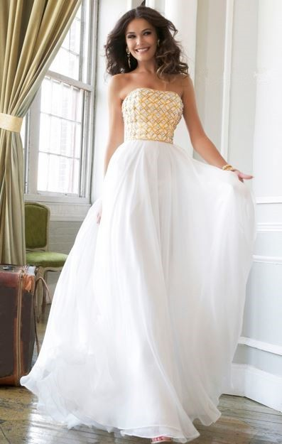 A Line Princess Strapless Long White Chiffon Gold Beaded ...