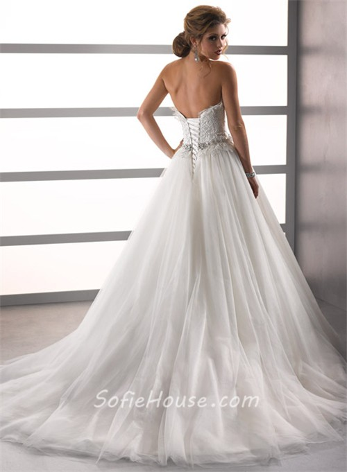 A Line/Princess Sweetheart Court Train Lace Tulle Wedding Dress ...